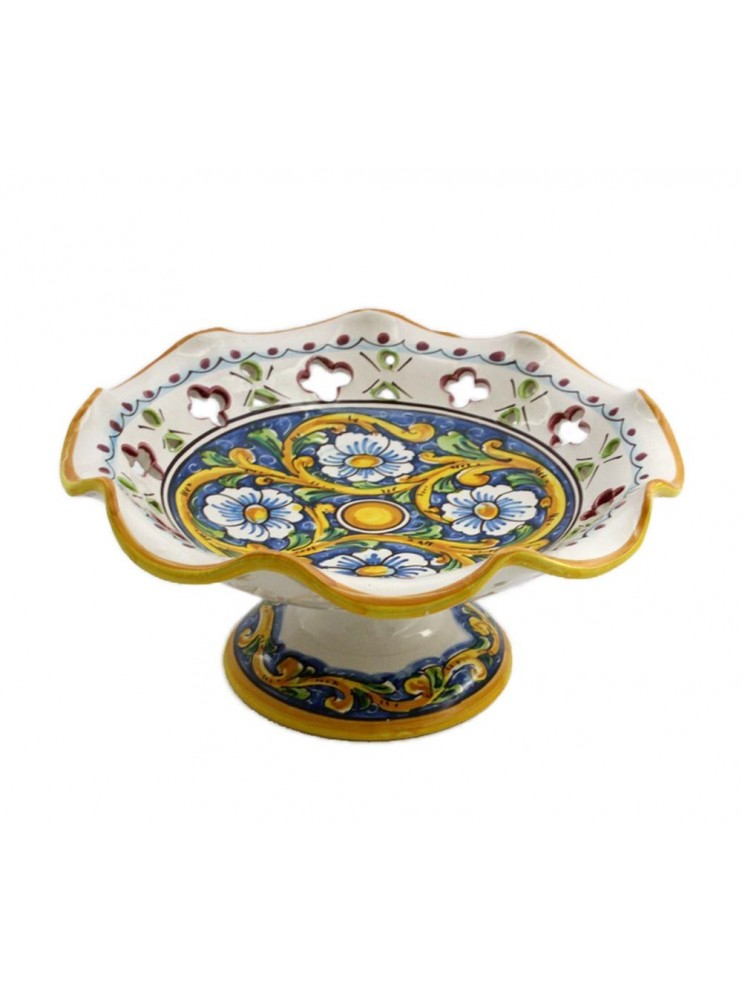 Medium raised ceramic centerpiece in Sicilian art.4 dec Baroque