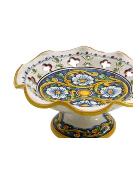 Medium raised ceramic centerpiece in Sicilian art.4 dec Baroque