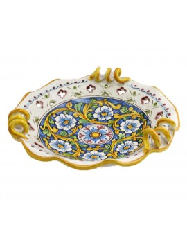 Centrotavola grande in ceramica siciliana art.6 dec. Barocco