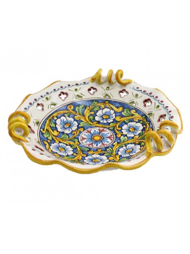 Large Sicilian ceramic centerpiece art.6 dec. Baroque