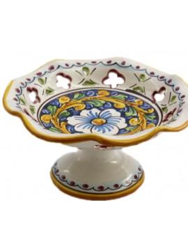 Centrotavola alzata piccola in ceramica siciliana art.5 dec. Barocco