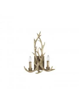 Rustic wooden applique carved horns 2 lights Chalet