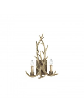Rustic wooden applique carved horns 2 lights Chalet