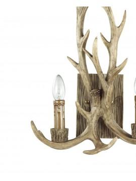 Applique rustico in legno intagliato corna 2 luci Chalet