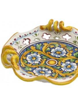 Centrotavola piccolo in ceramica siciliana art.7 dec. Barocco