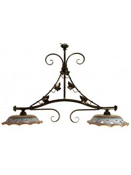 bilanciere rustico in ceramica e ferro battuto 2 luci Edera
