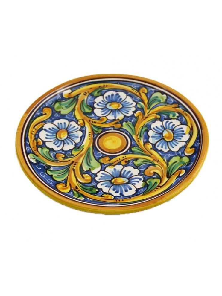 Piatto in ceramica siciliana art.14 dec. Barocco