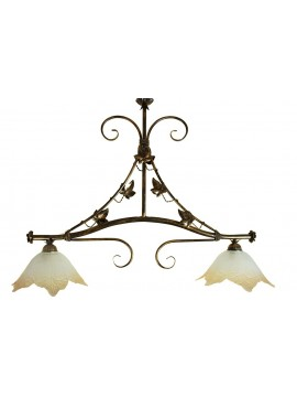 classic barbell in wrought iron 2 lights Edera glass
