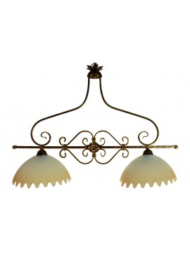classic wrought iron bar 2 lights Frieze glass
