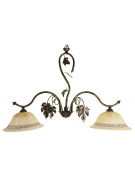 classic barbell in wrought iron 2 lights Matilde glass