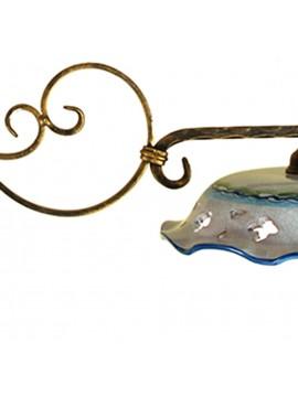 bilanciere rustico in ceramica e ferro battuto 2 luci Etrusca