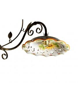 bilanciere rustico in ceramica e ferro battuto 2 luci Saturno