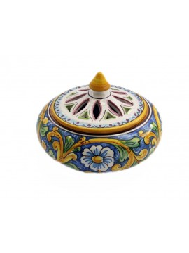 Large candy holder in Sicilian ceramic art.1 dec. Baroque