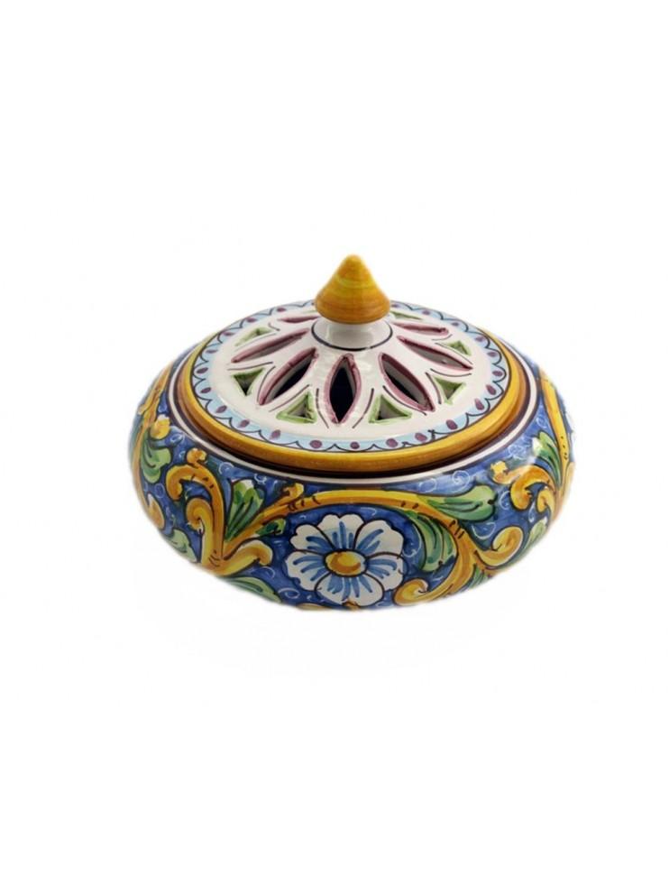 Porta caramelle grande in ceramica siciliana art.1 dec. Barocco
