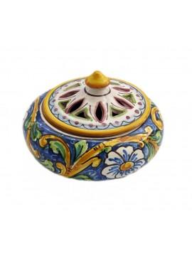 Porta caramelle piccolo in ceramica siciliana art. 2 dec. Barocco