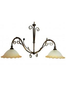 bilanciere classico in ferro battuto 2 luci Saturno vetro