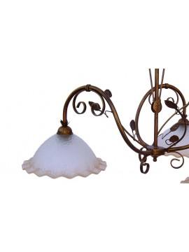 bilanciere classico in ferro battuto 3 luci Saturno vetro