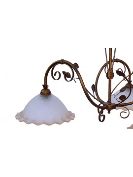 classic barbell in wrought iron 3 lights Saturn glass