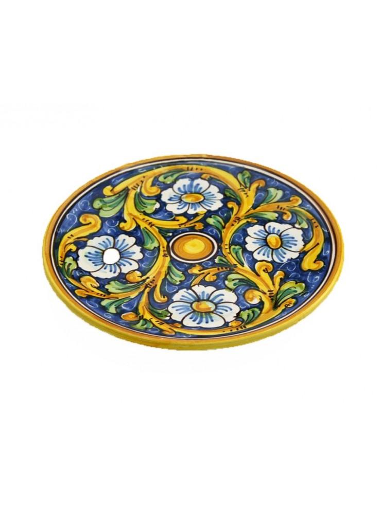 Piatto in ceramica siciliana art.13 dec. Barocco