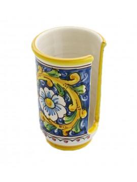 Small Sicilian ceramic cup holder art.18 dec. Baroque