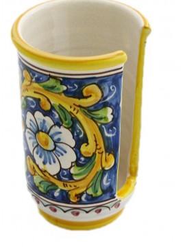Portabicchieri piccolo in ceramica siciliana art.18 dec. Barocco