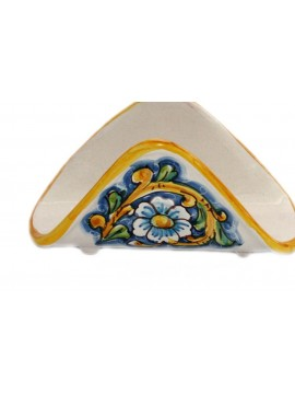 Handkerchief napkin holder in Sicilian ceramic art.10 dec. Baroque