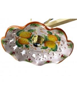 bilanciere rustico in ceramica e ferro battuto 2 luci Eco panna