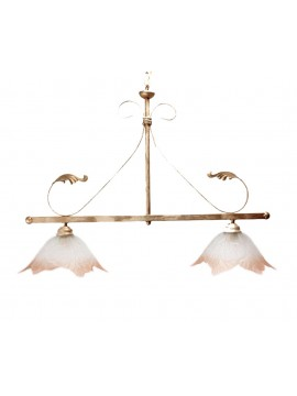 classic barbell in wrought iron 2 lights Eco cream glass