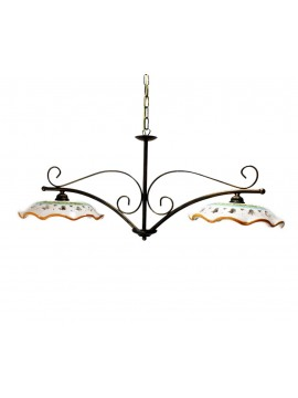 rustic barbell in ceramic and wrought iron 2 lights Esse