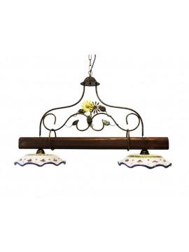 bilanciere rustico in ceramica e legno noce 2 luci Alf 260c