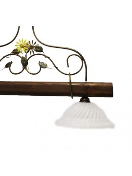 rustic barbell in wrought iron and walnut wood 2 lights Alf 260v
