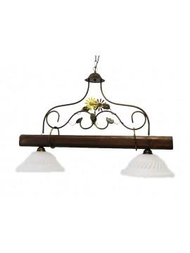bilanciere rustico in ferro battuto e legno noce 2 luci Alf 260v