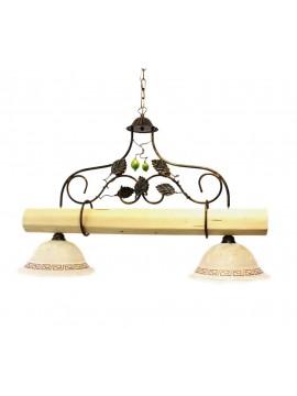 bilanciere rustico in ferro battuto e legno chiaro 2 luci Alf 250v