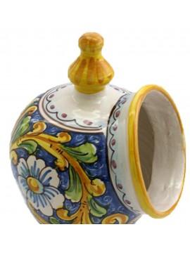Saliera in ceramica siciliana art.15 dec. Barocco