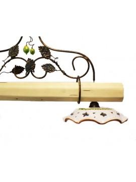 bilanciere rustico in ceramica e legno chiaro 2 luci Alf 250c