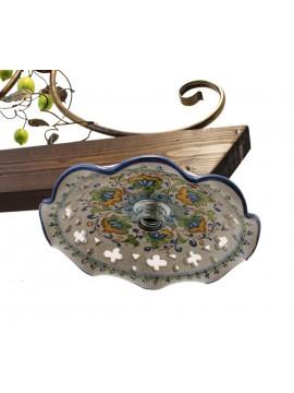 bilanciere rustico in ceramica e legno noce 2 luci Alf 280c