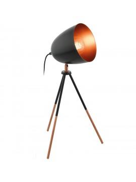 Lume vintage 1 luce nera e rame orientabile GLO 49385 Chester