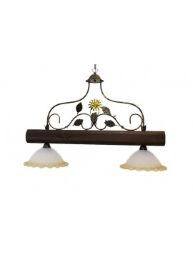 rustic barbell in wrought iron and walnut wood 2 lights Alf 270v
