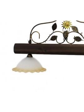 bilanciere rustico in ferro battuto e legno noce 2 luci Alf 270v