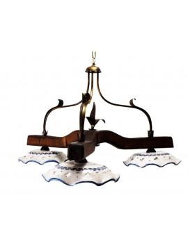 bilanciere rustico in ceramica e legno noce 3 luci Alf 213