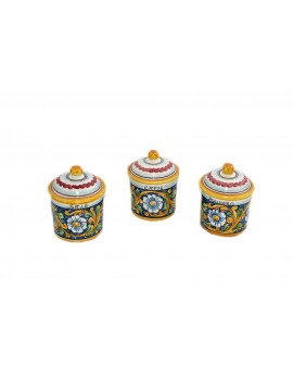 Tris 3 barattoli zucchero caffè sale in ceramica siciliana art.8 dec. Barocco