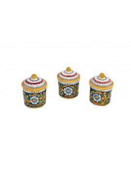 Tris 3 jars sugar coffee salt in Sicilian ceramic art.8 dec. Baroque