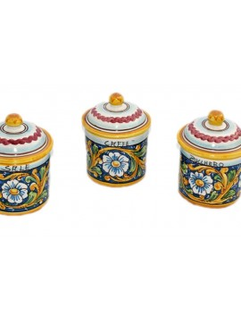 Tris 3 jars sugar coffee salt in Sicilian ceramic art.8 dec. Baroque