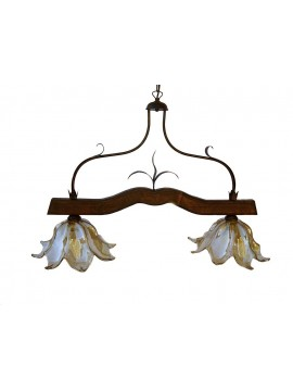 rustic barbell in wrought iron and walnut wood 2 lights Alf 211 murano