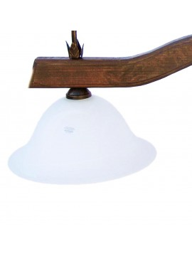 bilanciere rustico in ferro battuto e legno noce 3 luci Alf 212 vetro