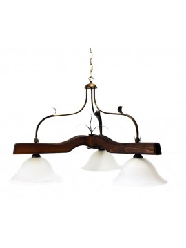 rustic barbell in wrought iron and walnut wood 3 lights Alf 212 glass