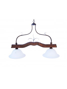 rustic barbell in wrought iron and walnut wood 2 lights Alf 212 glass