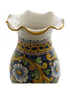 Vaso lavorato in ceramica siciliana art.16 dec. Barocco