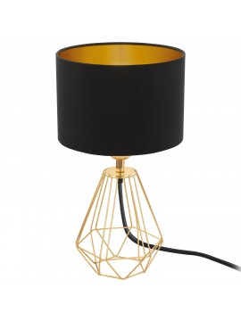 Vintage table lamp in black GLO 95788 Carlton 2 fabric