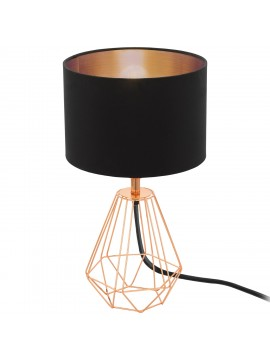 Vintage table lamp in black GLO 95787 Carlton 2 fabric